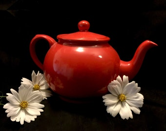 Arthur Wood teapot Stafford England 1904 cherry red ceramic