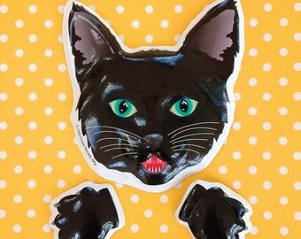 Black Cat Cake Plaque (1) with Paws, Halloween Cake Decoration, Cat Party Decoration, Vintage Halloween Baking Supply, Halloween Cake Decor