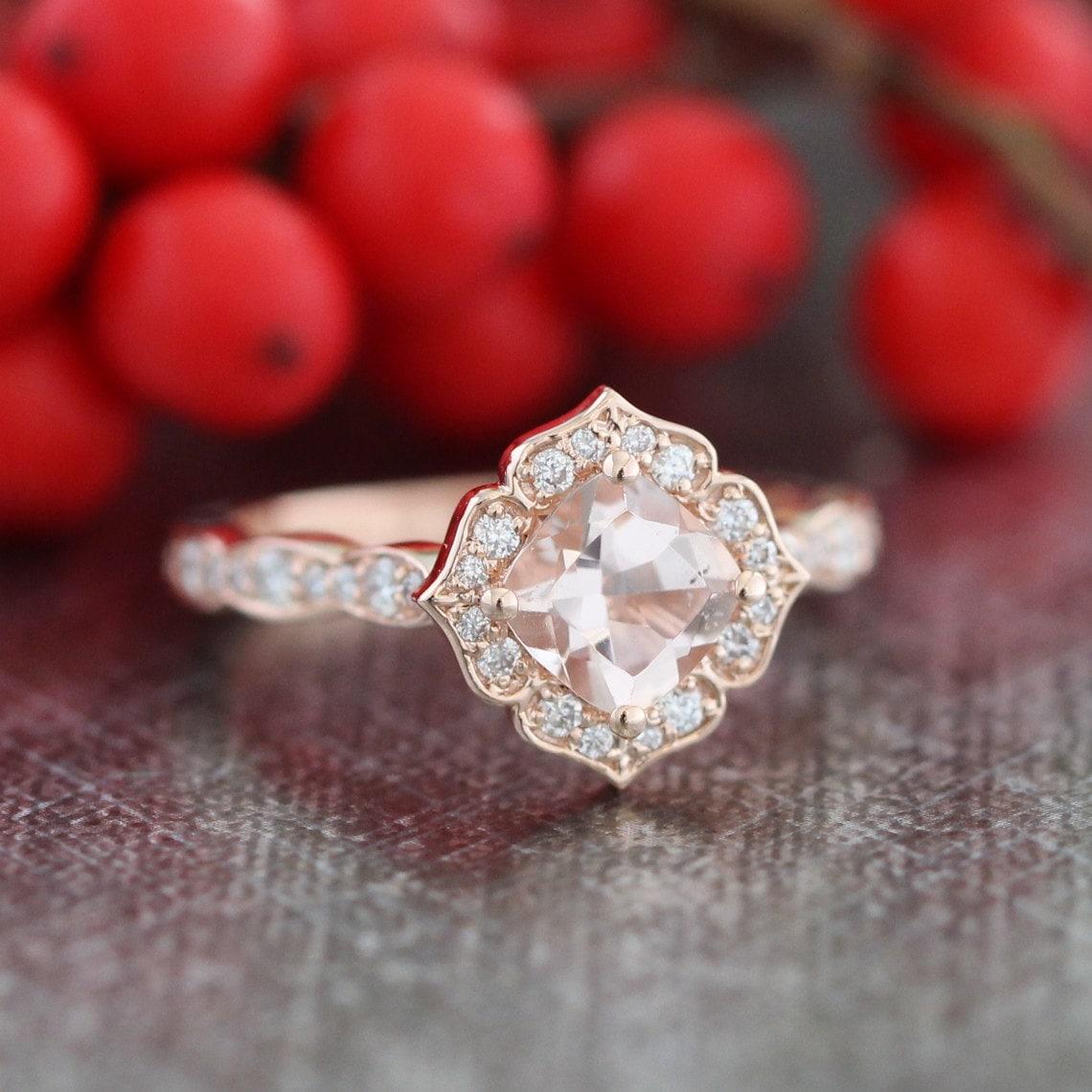 Mini Vintage Floral Morganite Engagement Ring 14k Rose Gold