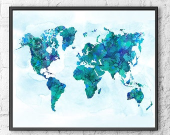 Watercolor world map, office art, print painting, blue decor, map of the world, geography art print - S13