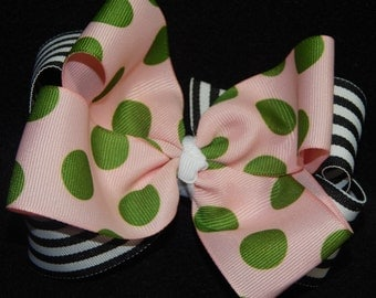 5 Inch Stacked Hair Bow, Black and White Hair Bow, Stacked Boutique Hair Bow, Boutique Hair Bow, Polka Dot Hair Bow, Striped Hair Bow, Bow