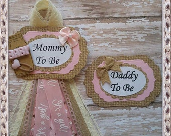 Rustic Burlap Mommy & Daddy To Be Corsage It's a Girl Baby Shower Corsage Burlap and Pink Theme Baby Shower Corsage