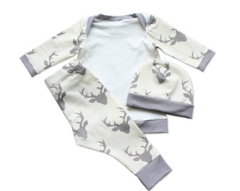 Baby Boy Outfit - Hunting Baby - Boy Outfit - Cream Grey