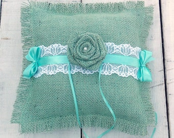 Mint Green Ring Pillow - Burlap and Lace Ring Pillow - Ring Bearer Pillow - Burlap Wedding Pillow - Rustic Wedding Ring Pillow