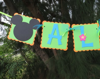 """Mickey Mouse Luau (Hibiscus) - """"Aloha"""" banner - Orange, Lime Green, and Bright Blue"""
