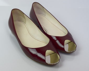Chanel Cherry Red Patent Leather Metallic Trim Peep Toe Ballerina Flats