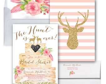 Deer Bridal Shower Invitation // Oh Deer // The hunt is over // Pink // Boho // Birch // Woodland // Gold Glitter // ASHEVILLE COLLECTION