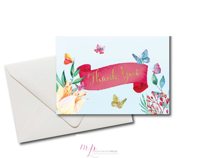 Butterfly Thank You Card // Folded Thank You // Mint // Pink // Gold Glitter // Printed // CORDOBA COLLECTION