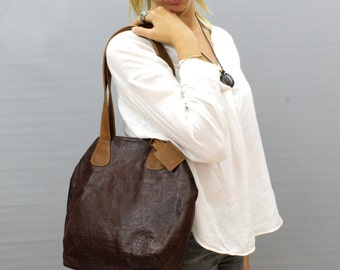 Sale!!! Embossed brown leather handbag, medium leather bag, Leather handbag handmade, brown leather purse, Limor Galili bag