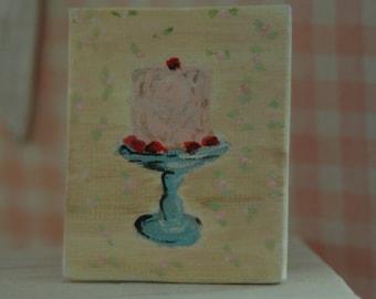 Miniature Shabby Canvas Cake painting