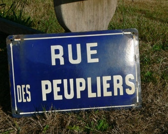 Vintage French enamel street sign name plaque Rue des Peupliers - Road of poplars ( poplar trees) - Old blue & white town /village road sign