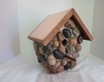 Handmade Outdoor Rustic Stone Birdhouse with a Copper Roof