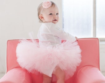 Baby Girl Tutu - Fluffy and Soft Birthday Tutu - Ballerina style - You choose color - First Birthday Tutu
