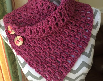 Crochet button front neckwarmer