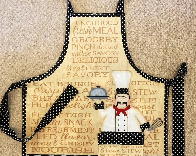 Chef apron reversible with casino and darts on opposite side