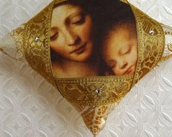 Handmade Christmas ornament, Madonna and Child ornament, fine art ornament, gold ornament