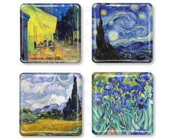 Vincent Van Gogh, Glass Magnet, Refrigerator Magnets, Painting, Starry Night, Irises, Cafe Terrace at Night, Wheat Field with Cypress