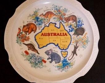 Vintage Melamine Plate; Australia; Approx. 10.5 in; Souvenir !!!