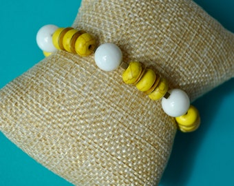 white and Yellow stretch Bracelets