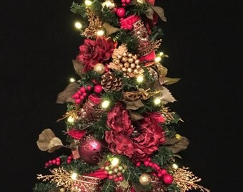 Christmas  Topiary Tree, Jewelled Ribbon, Cordless, 35  LED light, Auto Timer Holiday Decor, Timer, Ruby Red, Jewelled Ribbons