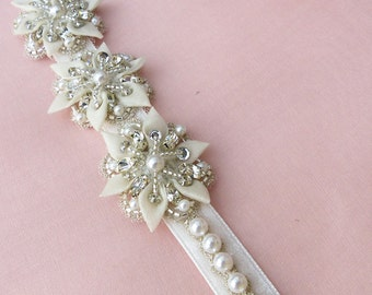 wedding headband, bridal headband, pearl headband, crystal and pearl headband, flower headband, fabric flower, jeweled headband