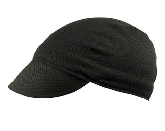 Black moisture wicking cycling cap - handmade cap; moisture wicking cap; bicycle cap; polyester cap; bike wear; cycling clothes