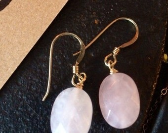 Gold filled Rose Quartz Earrings