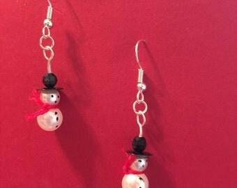 Hand Beaded Snowman Earrings