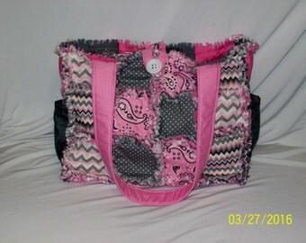 Pink Gray Zigzag Dot Paisley Boutique Handmade Rag Quilt Diaper Bag Tote Purse