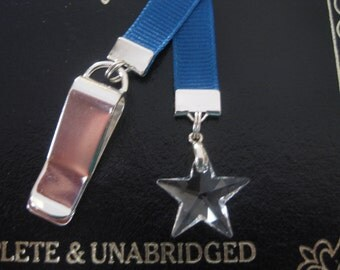 Crystal Star bookmark with clip - Attach to book cover then mark the page with the ribbon. Never lose your bookmark!