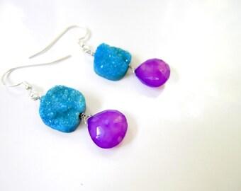 Turquoise Druzy Earrings, Purple Briolettes, Druzy and Briolette Earrings