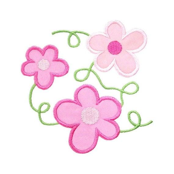 Flower vines applique machine embroidery design