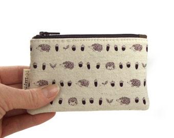 Coin Purse - Hedgehogs - Kawaii - Change Purse - Card Wallet - Gift - Brown / Beige - Cute Coin Purse - Card Case - Zipper Bag