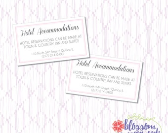 Pink & Gray - Printable Hotel Information Card