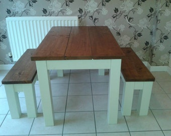 Chunky rustic reclaimed timber table with 2 benches painted