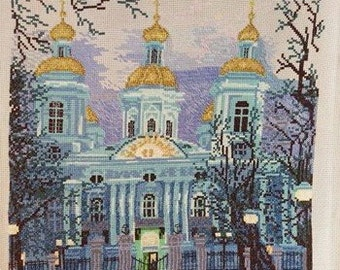 Completed Cross Stitch embroidery, Finished Cross Stitch, Completed Cross Stitch of Golden Domes,Religious theme Completed Cross Stitch