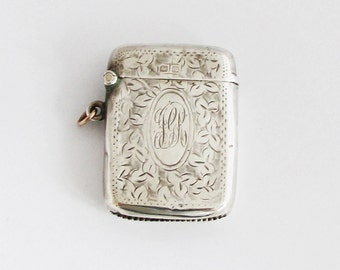 1910s British Vesta Case Sterling Match Safe Pill Box Pendant