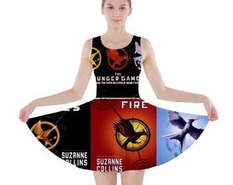 S- 3XL Hunger Games inspired book Skater dress novel- Mockingjay
