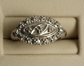 Beautiful Antique Art Deco 10k White Gold Genuine Diamond Pinky Ring