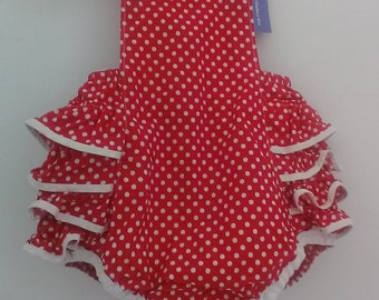 Adorable Ruffle Romper in Polka Dot size 6-9 Months