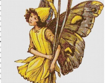 The Spring Daffodil Fairy - Vintage Cross Stitch Pattern - Instant Download