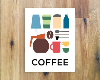 Coffee Poster - Coffee Wall Art - Kitchen Decor - Office Decor - Coffee Sign - Coffee Illustration