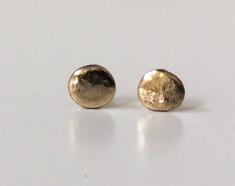 14K Gold Studs SOLID 5mm Organic Round Pebble Stud Earrings   // Gift for Girlfriend, Wife, Sister, Best Friend