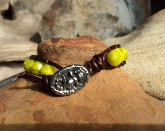 Sea Monkey - Charteuse beaded leather bracelet