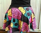 Sally patchwork mini Skater Skirt Nightmare Before christmas