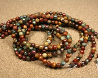 Red Creek Jasper Round Beads - Smooth Red Green Yellow Beads, 6mm, 16 inch strand