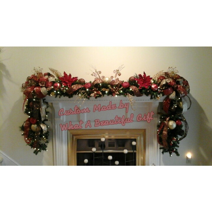 Christmas fireplace mantel lighted garland by for Christmas garland on fireplace