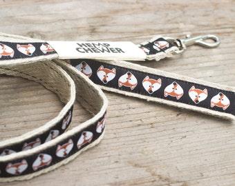 Black fox hemp dog leash, 20mm (3/4inch) wide hemp dog leash with foxes, eco-friendly