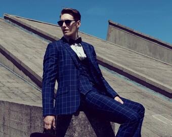 Mens 3 piece suit blue wool windowpane checkered