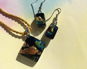 Fused Glass Jewelry Set in Gold and Black